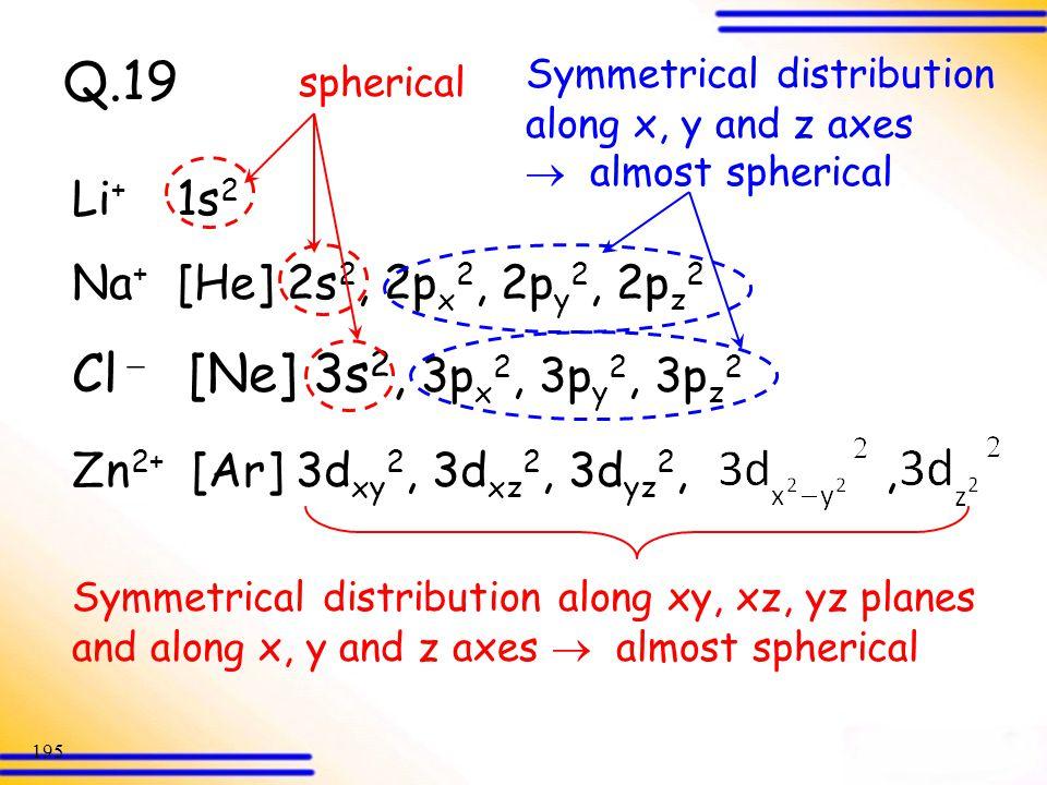 Q.19 Cl [Ne] 3s2, 3px2, 3py2, 3pz2 Li+ 1s2